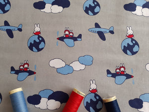 Miffy on Holiday Aeroplanes on a Silver Grey Background Licenced 100% Cotton