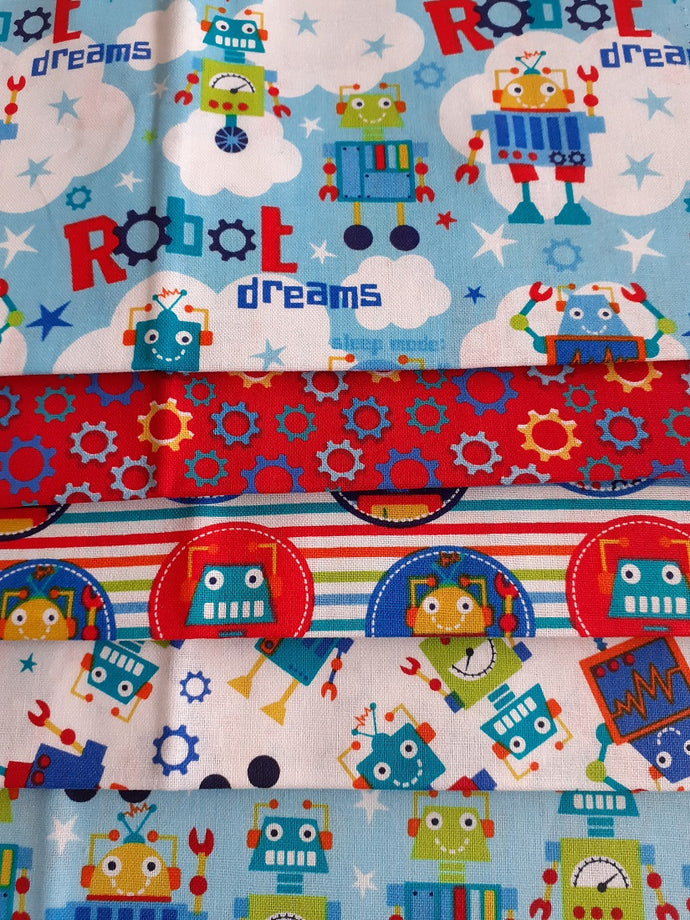 Robot Dreams Fat Quarter Bundle  100% Cotton