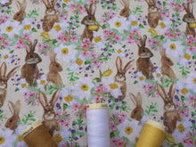 Load image into Gallery viewer, Hares & Wild Flowers Digital Print on a Cream Background 100% Cotton