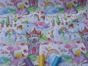 Fairytale Kingdom Castles Princesses & Unicorns Digital Print on a White Background 100% Cotton