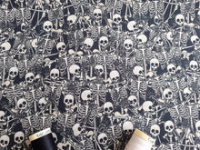 Load image into Gallery viewer, Lovely Bones Skeletons Digital Print on a Black Background 100% Cotton