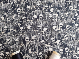Lovely Bones Skeletons Digital Print on a Black Background 100% Cotton