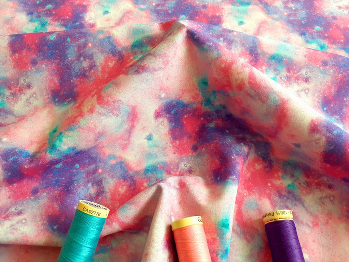 Pink Lilac Purple Turquoise Marbled Design Digital Print 100% Cotton