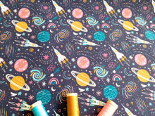 Load image into Gallery viewer, Rockets & Planets Multi Color Digital Print on a Navy Background 100% Cotton