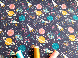 Rockets & Planets Multi Color Digital Print on a Navy Background 100% Cotton