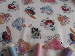Disney Princesses Words on a White Background 100% Cotton