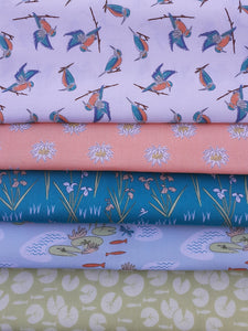 Lily Pads by Debbie Shore Kingfishers Irises & Lotus Flowers Fat Quarter Bundle 100% Cotton