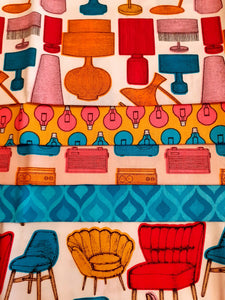 Retro Chairs Wallpaper Lampshades Lightbulbs & Radios Fat Quarter Bundle 100% Cotton