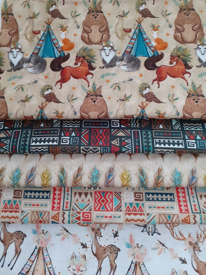 Wigwam Teepee Woodland Animals Fat Quarter Bundle 100% Cotton
