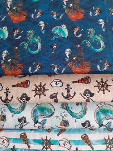 Pirate Ships Nautical Notions Whales & Dragons Fat Quarter Bundle 100% Cotton