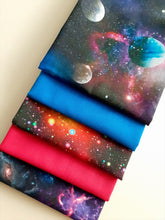 Load image into Gallery viewer, Galaxy & Planets Bright Digital Print & Plain Fat Quarter Bundle  100% Cotton