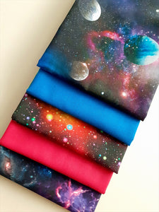 Galaxy & Planets Bright Digital Print & Plain Fat Quarter Bundle  100% Cotton