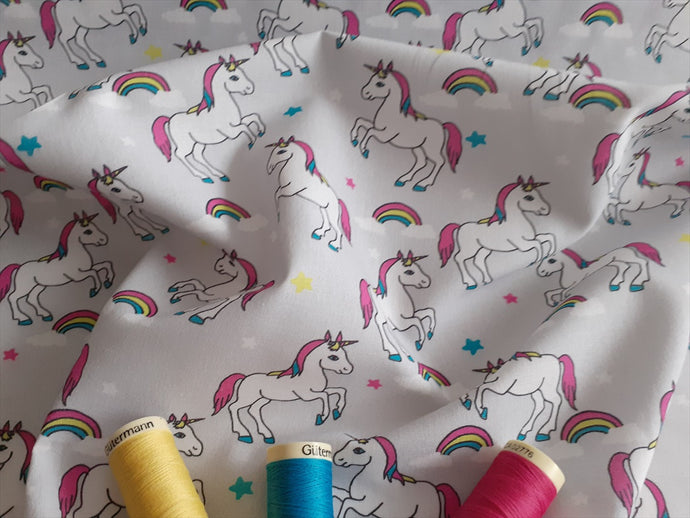 Unicorns & Rainbows Digital Print on a Silver Grey Background 100% Cotton