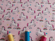 Load image into Gallery viewer, Unicorns & Rainbows Digital Print on a Baby Pink Background 100% Cotton