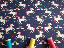 Load image into Gallery viewer, Unicorns & Rainbows Digital Print on a Navy Background 100% Cotton