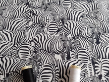 Load image into Gallery viewer, Zebras Hidden in Black & White Digital Print 100% Cotton