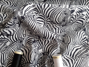 Zebras Hidden in Black & White Digital Print 100% Cotton