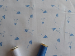 Nursery Basics Paper Plane Baby Blue on a White Background 100% Cotton