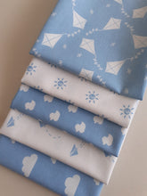 Load image into Gallery viewer, Nursery Basics Kites Clouds Sun Ducks & Paper Planes Baby Blue Mix Fat Quarter Bundle 100% Cotton