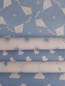 Nursery Basics Kites Clouds Sun Ducks & Paper Planes Baby Blue Mix Fat Quarter Bundle 100% Cotton
