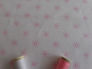 Nursery Basics Sun Baby Pink on a White Background 100% Cotton