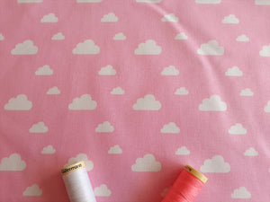 Nursery Basics Clouds White on a Baby Pink Background 100% Cotton