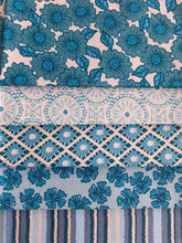 Load image into Gallery viewer, Tranquility Teal & Turquoise Floral & Geometric Mix Fat Quarter Bundle 100% Cotton