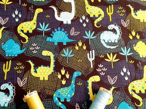 Desert Dinosaurs Bright Design Lime Turquoise & Aqua Mix on a Navy & Black Background 100% Cotton