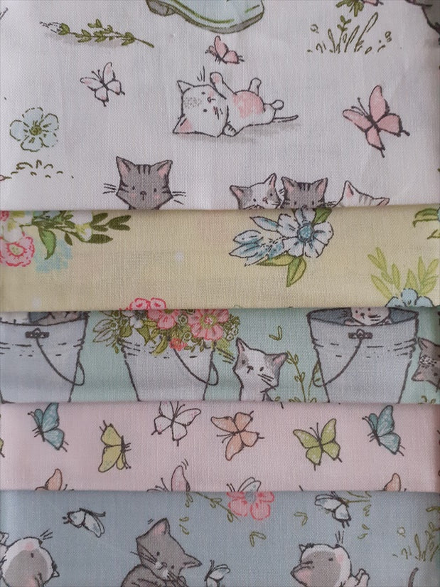 Playful Kittens in the Garden Fat Quarter Bundle 100% Cotton