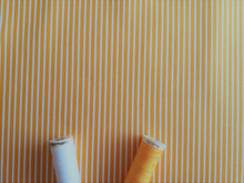 Load image into Gallery viewer, Candy Stripe 2mm White on a Yellow Background 100% Cotton