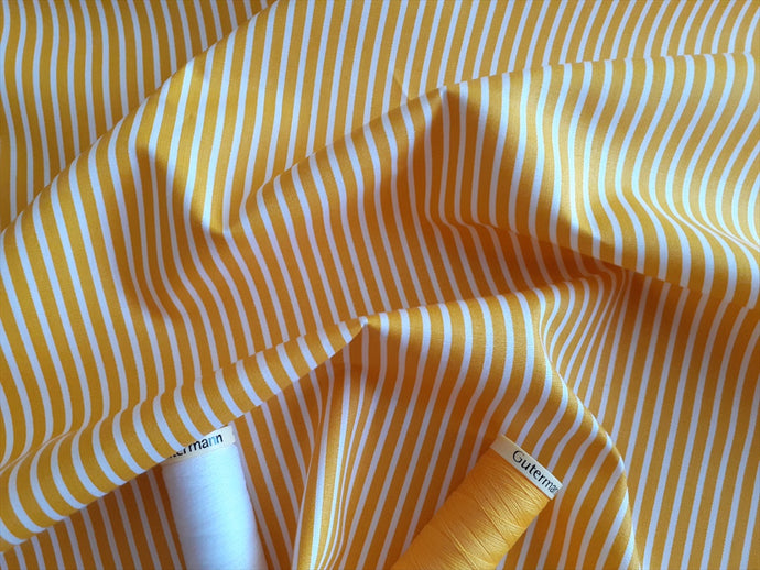 Candy Stripe 2mm White on a Yellow Background 100% Cotton
