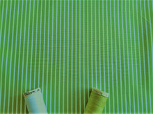Load image into Gallery viewer, Candy Stripe 2mm White on a Lime Green Background 100% Cotton
