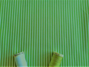 Candy Stripe 2mm White on a Lime Green Background 100% Cotton