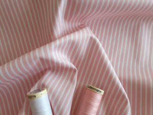 Candy Stripe 2mm White on a Pale Pink Background 100% Cotton