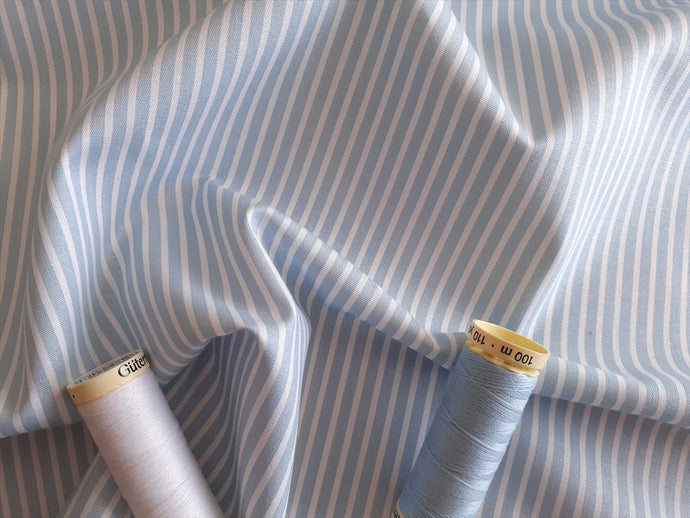 Candy Stripe 2mm White on a Sky Blue Background 100% Cotton