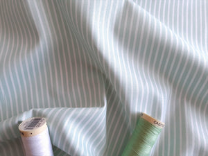Candy Stripe 2mm White on a Mint Background 100% Cotton