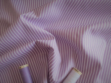 Load image into Gallery viewer, Candy Stripe 2mm White on a Lilac Background 100% Cotton