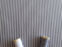 Load image into Gallery viewer, Candy Stripe 2mm White on a Grey Background 100% Cotton