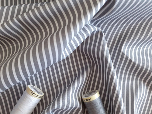 Candy Stripe 2mm White on a Grey Background 100% Cotton