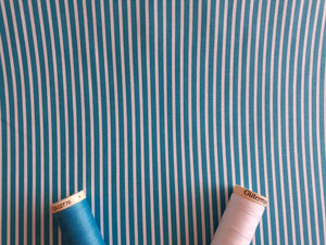 Candy Stripe 2mm White on a Turquoise Background 100% Cotton