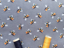 Load image into Gallery viewer, Life Size Bees on a Mid Grey Background Digital Print 100% Cotton