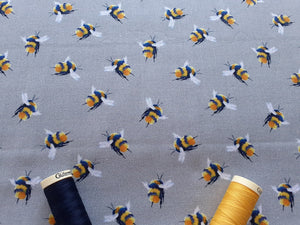 Life Size Bees on a Silver Grey Background Digital Print 100% Cotton