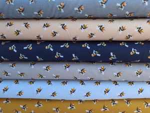 Life Size Bees on a Mid Grey Background Digital Print 100% Cotton
