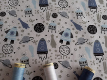 Load image into Gallery viewer, Rockets & Spaceships on a White Background Poly Cotton
