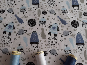 Rockets & Spaceships on a White Background Poly Cotton