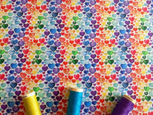 Load image into Gallery viewer, Little Hearts Bright Multi Colour Digital Print 100% Cotton