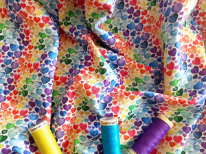 Little Hearts Bright Multi Colour Digital Print 100% Cotton