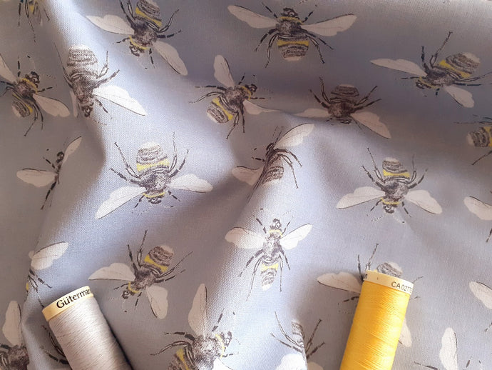 Queen Bees on a Silver Grey Background Digital Print 100% Cotton