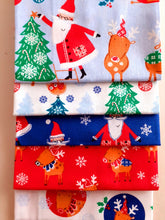 Load image into Gallery viewer, Christmas Childrens Santa & Reindeer Fat Quarter Bundle  100% Cotton