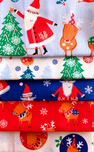 Christmas Childrens Santa & Reindeer Fat Quarter Bundle  100% Cotton